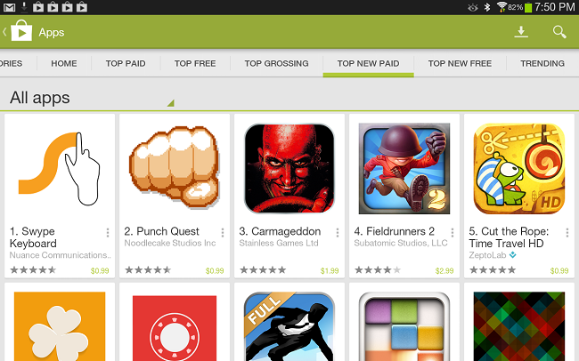 Play Store en tablet
