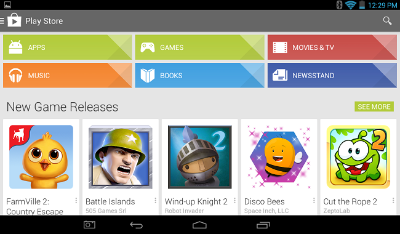 Play Store y Tablet